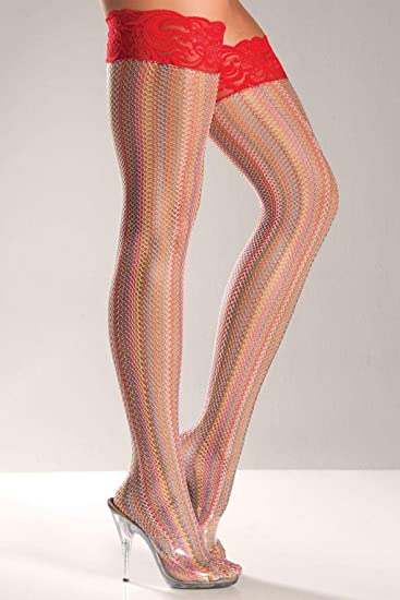 a468ba2c80b Amazon.com: Be Wicked Costumes RAINBOW FISHNET THIGH HIGHS- O/S ...