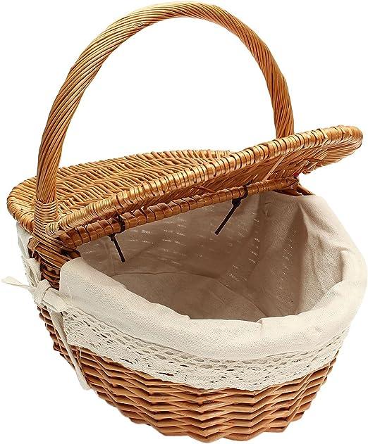 ounona cesta de mimbre Picnic caja de almacenaje de mimbre con ...