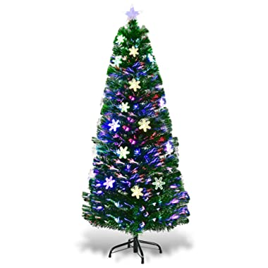 Goplus 5FT Pre-Lit Fiber Optic Artificial Christmas Tree with Multicolor Led Lights and Snowflakes