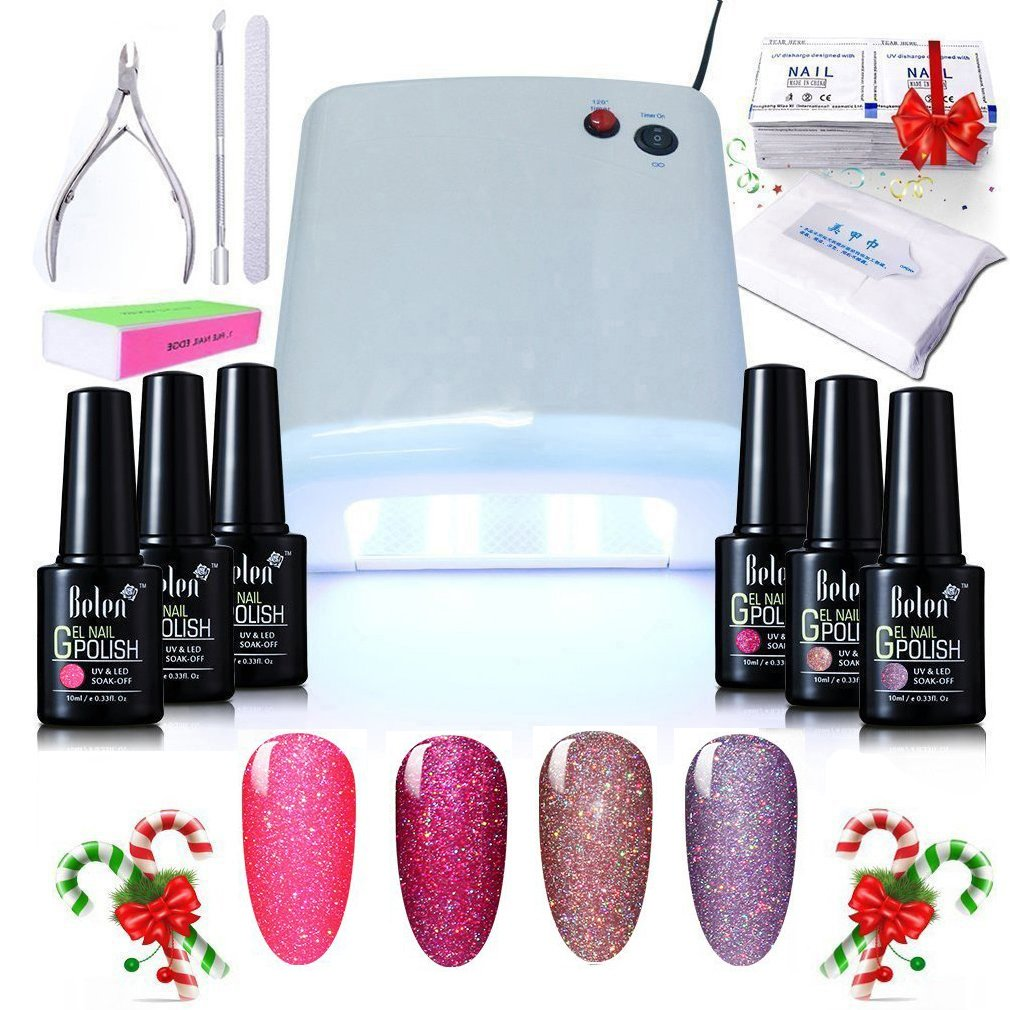 Gel Nail Starter Kit, Belen 4 Colors Neon Shiny Bling UV Gel Nail Polish 36W (30s/60s?UV Curing Lamp Top& Base Coat Nail Art Manicure Kit Nail Newbi Starter Set N005 Csting Choice