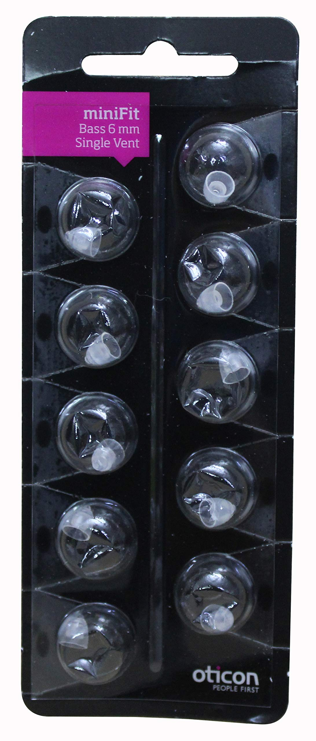 Oticon miniFit RIC Domes 10-Pack (Bass Single Vent, 6 mm) by FCS
