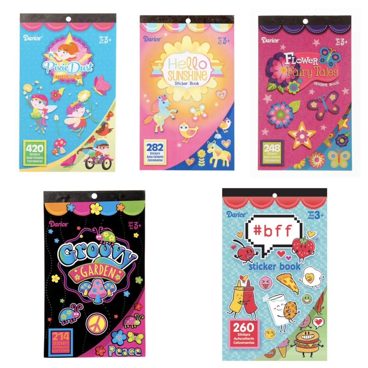 Amazon com five 5 girly girl sticker books 1400 stickers flowers pixies hearts hashtag bff teacher supplies rewards party favors classroom office