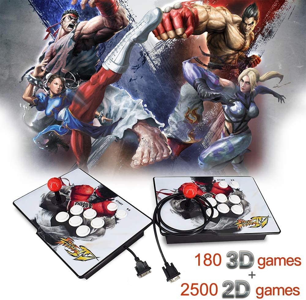 XFUNY. Arcade Game Console 1080P 3D & 2D Games 2680 in 1 Pandora's Box 3D 2 Players Arcade Machine with Arcade Joystick Support Expand Games 6000+ for PC / Laptop / TV / PS4 (A)