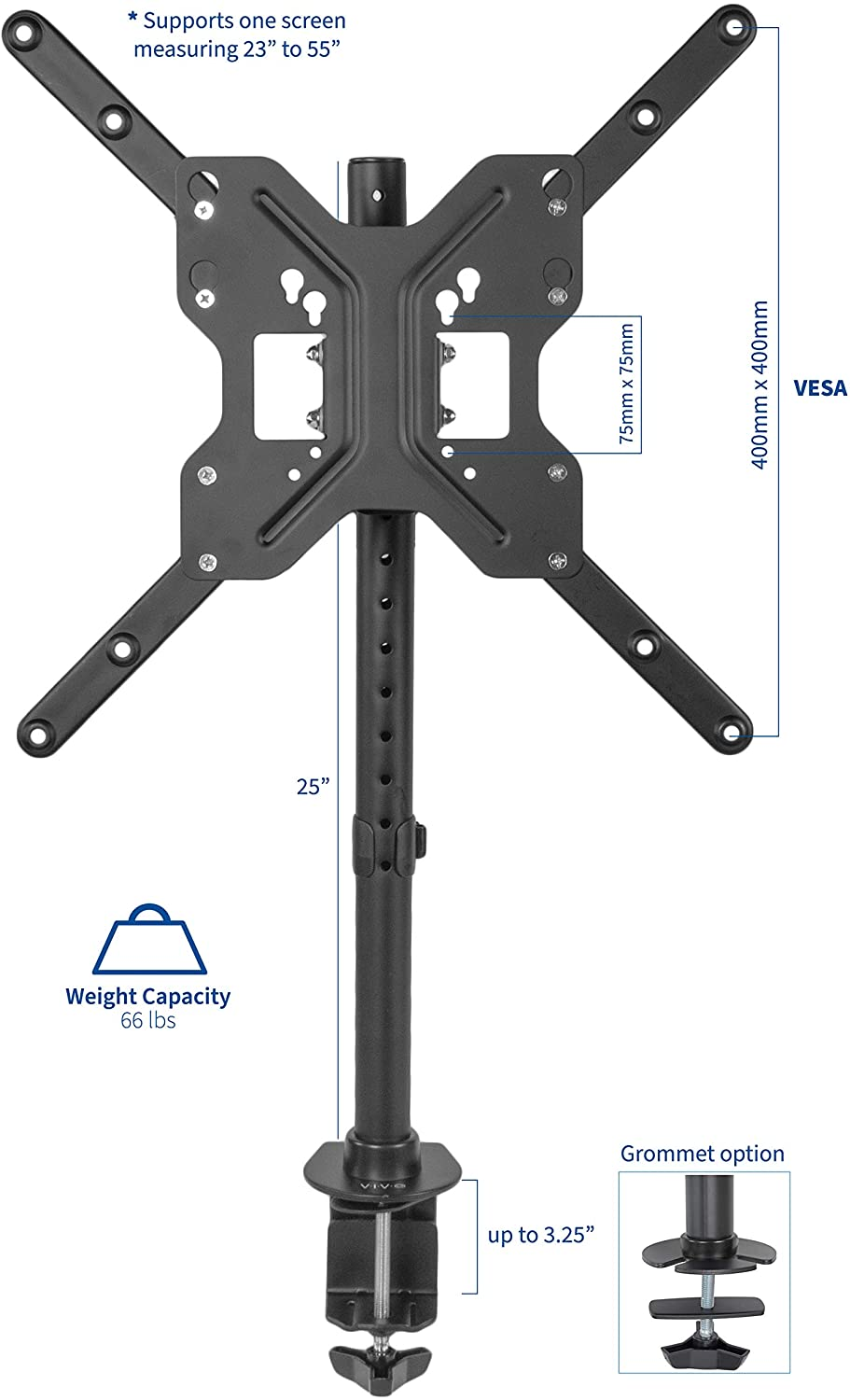 Vivo Black Ultra Wide Screen Tv Desk Mount For Up To 55 Inch Screens Full Motion Height Adjustable Single Television Stand Stand V155c Electronics