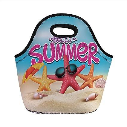 74382263f5ed Amazon.com: Neoprene Lunch Bag, Lifestyle Decor, Hello Summer ...