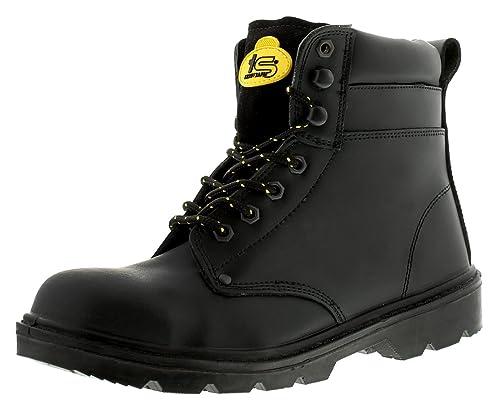 Hombre Cierre De Encaje Botas seguridad - Negro - GB Tallas 3-14 - Negro