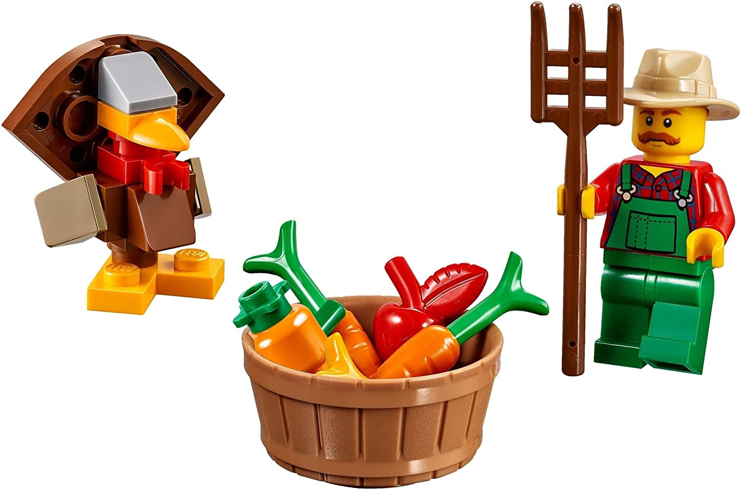 LEGO Exclusive Minifigure - Farmer in Overalls (with Pitchfork Basket of Vegetables & Turkey) 40261