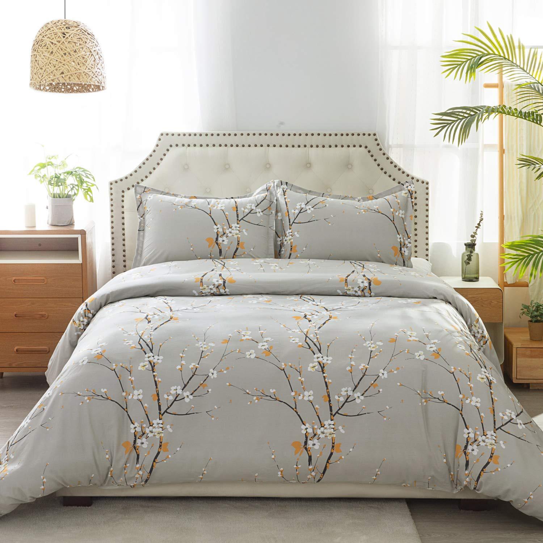 Bedsure 100% Cotton Duvet Cover Set Full/Queen Size (90x90 inches) - Plum Blossom Pattern - 3 Pieces (1 Duvet Cover + 2 Pillow Shams), Duvet Covers with Zipper Closure, Corner Ties