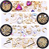 NICOLE DIARY Nail Rhinestones kit Multi-size Gems Metal Nail Rivets Studs Colorful Nail Art Decoration Set