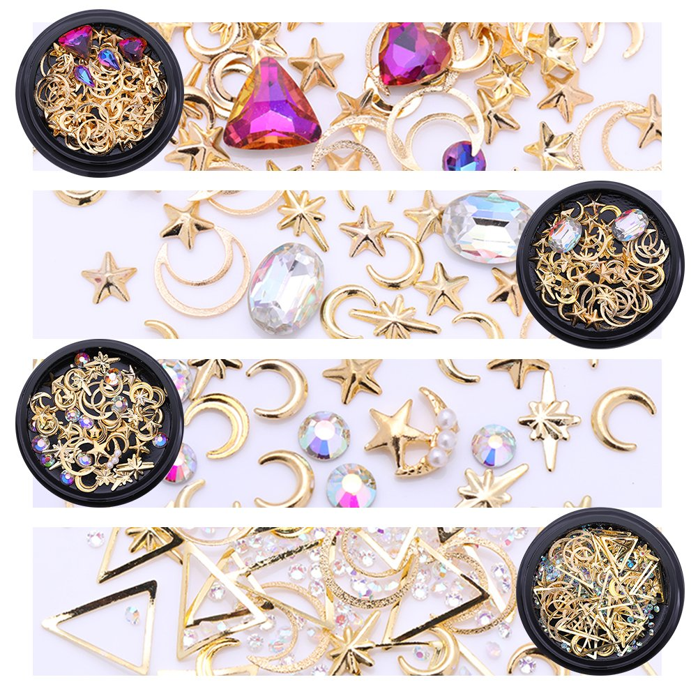 NICOLE DIARY Gold Nail Studs Gems Sparkle Rhinestones Metal Rivets Moon Star Shaped Artificial AB Color Pearls Triangle Hollow DIY 3D Nail Art Charms Decoration