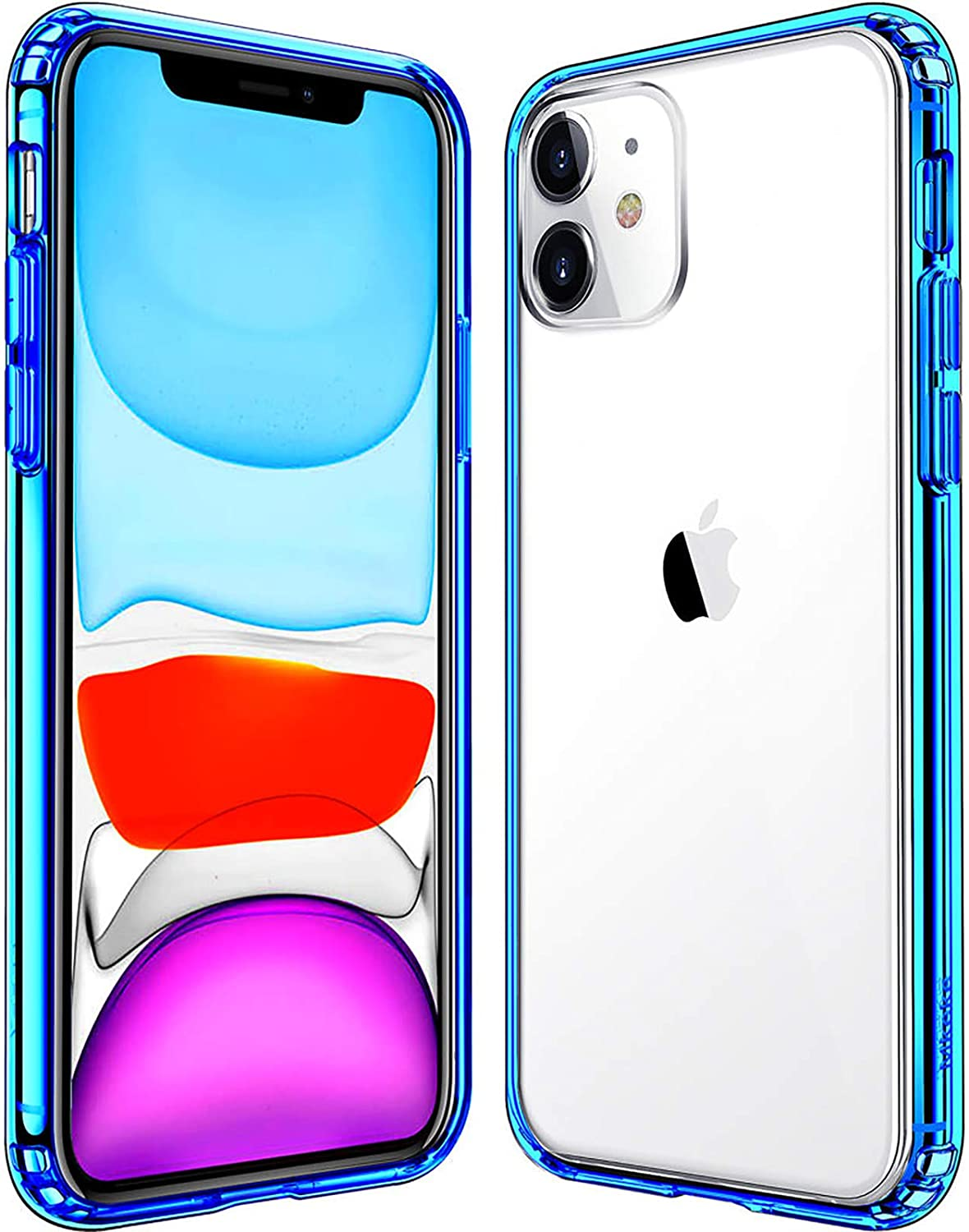 Mkeke Compatible with iPhone 11 Case, Clear Cover for 6.1 Inch Blue