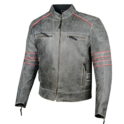 21d38077f Men's Brotherhood Classic Leather Motorcycle Distressed Armor Biker Jacket L