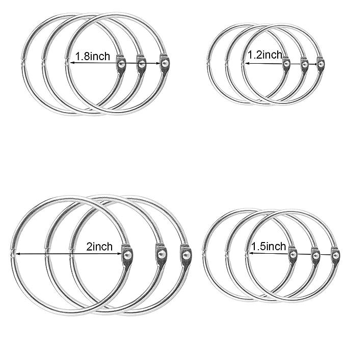 Amazon.com: kootiko 100 piezas varios tamaños libro anillos ...