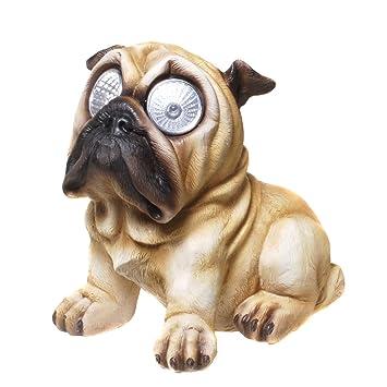Perro carlino con ojos solares, figura solar para jardín: Amazon.es: Jardín