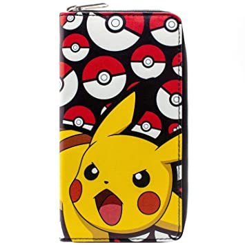 Cartera de Pokemon Pikachu Pokeball Negro
