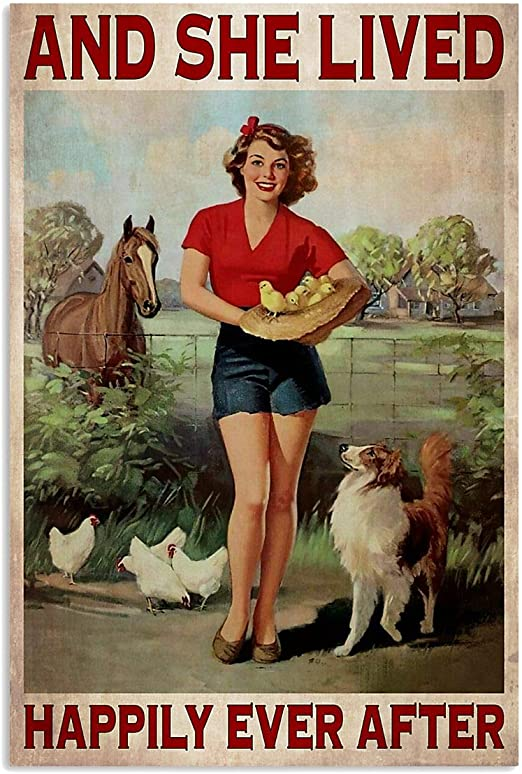 Girl And Dog She Lived Happily Ever After Poster Art Print Decor