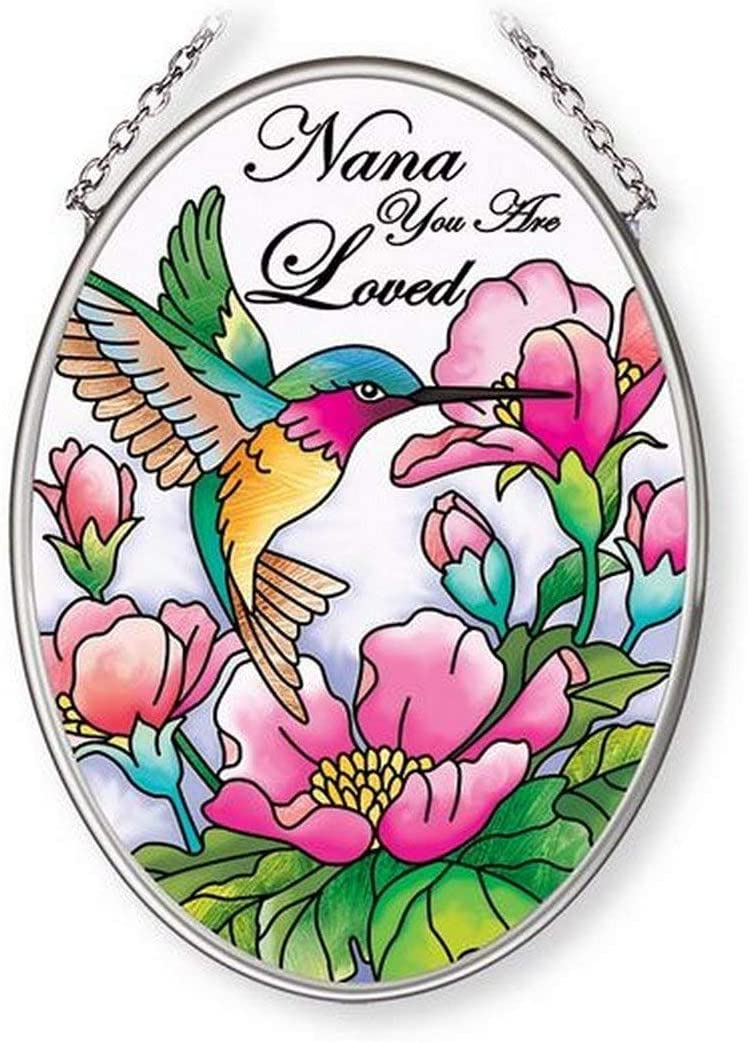 Nana You are Loved AMIA Sun Catcher 4 1/2 Inch by 3 1/4 Inch Hummingbird Flowers