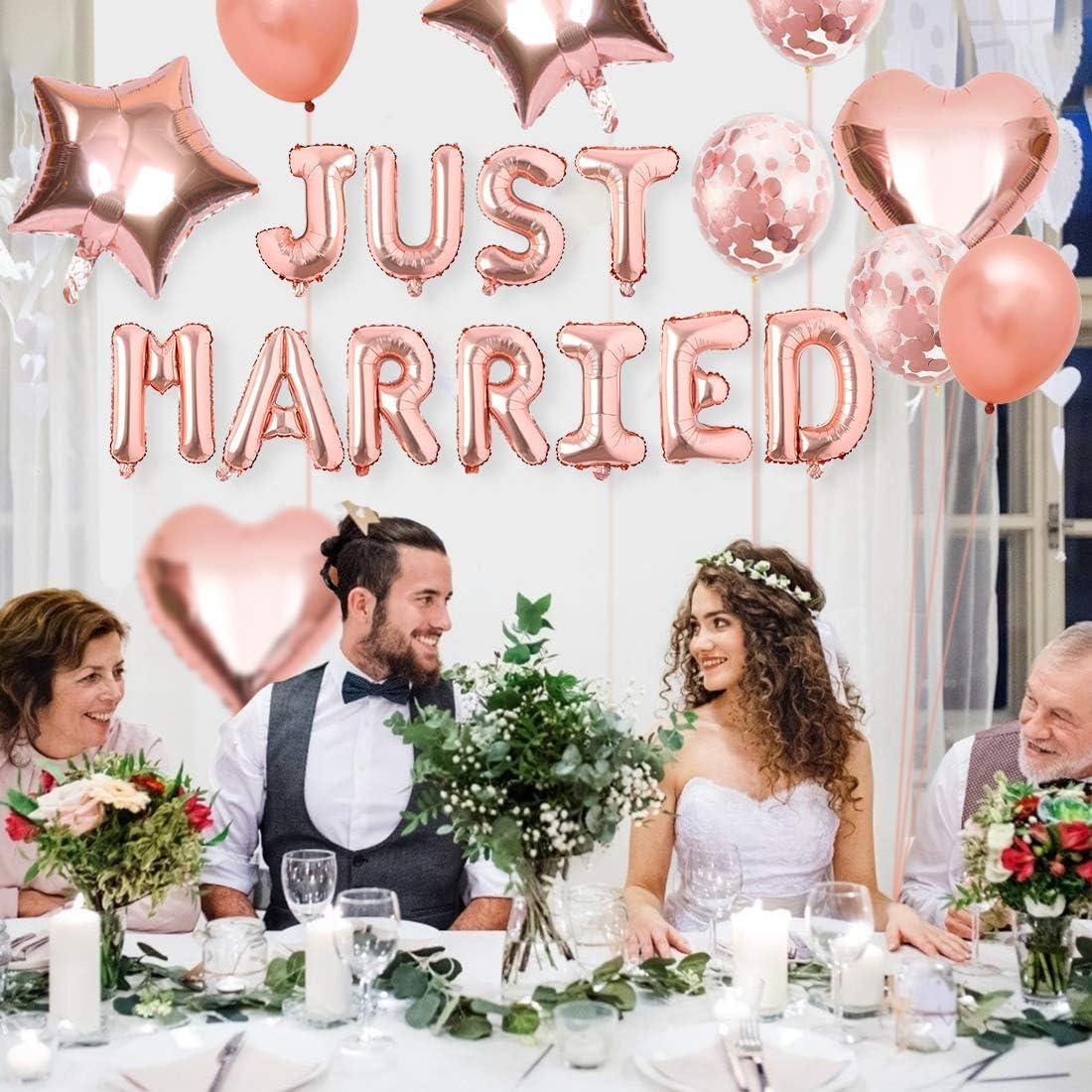 Just Married Ballon f/ür Heiratsantrag Standesamt Verlobung Hochzeitsgeschen Bluelves Just Married Girlande Luftballon Set Hochzeits Ballons Deko Hochzeitsballon