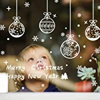 Vlovelife Merry Christmas Window Sticker, Xmas Reindeer & Snowflake Design Wall Sticker Wall Decals Removable DIY Window Door Xmas Home Decorations