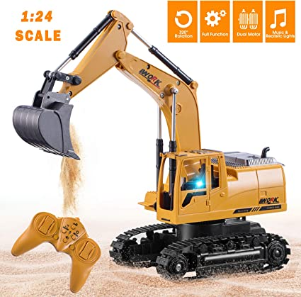 1:24 RC Excavator Metal Shovel Remote Control Construction Digger Truck Toy 6 Ch