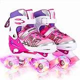 Otw-Cool Adjustable Roller Skates for Girls and Women, All 8 Wheels of Girl's Skates Shine, Safe and Fun Illuminating for Kids