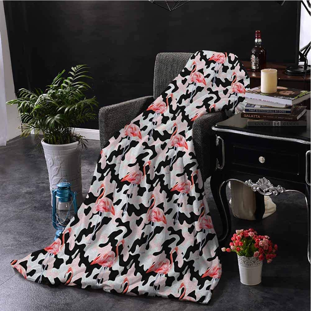 hengshu Camo Faux Fleece Throw Blanket Watercolor Pink Flamingo Print Camouflage Background Nature Inspired Soft Fuzzy Blanket for Couch Bed W60 x L91 Inch Dark Coral Pale Pink Black