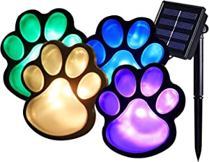Solar Colorful Paw Print Lights, Solar Path Lights Color Changing Paws Animal Design Decorative Lamp Decor for Garden,Patio,Yard,Walkway Lighting, Any Pet Dog Cat Lover(Solar Color paw)