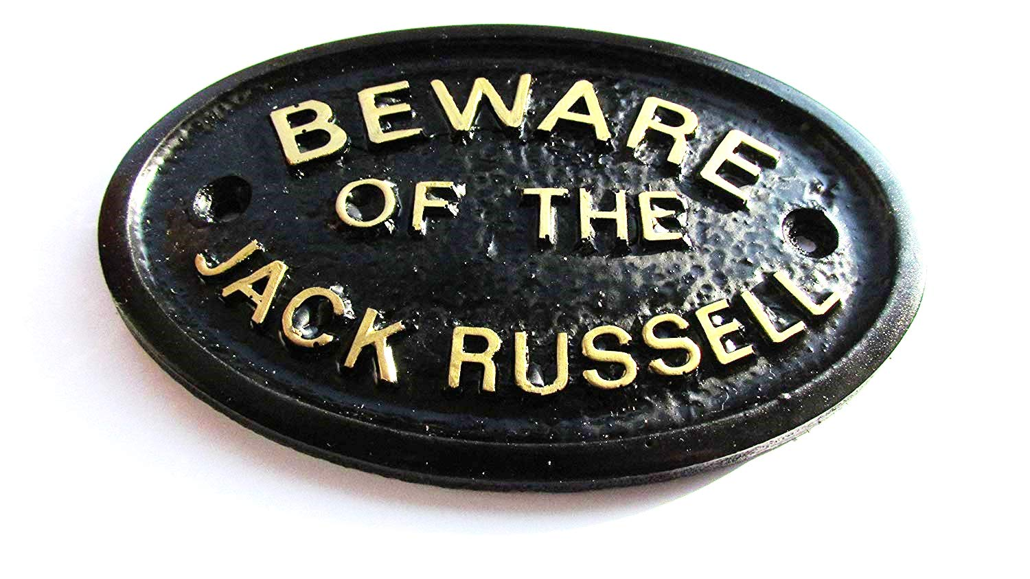 Artisan Beware Of The Jack Russell Wall Plaque In Black With Gold Raised Lettering model