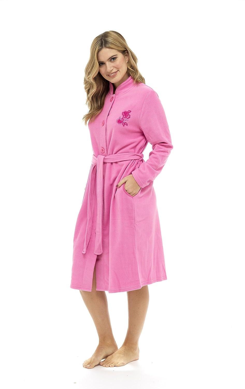 CityComfort Lussuosa Vestaglia in Rilievo Rosa soffice Zip Attraverso Accappatoio termoattivo Soft Touch