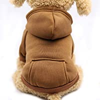 N\C Small/Large Dog Hoodie Vest, Puppy Winter Warm Jacket with Fleece and Cotton, Pet Supplies For Chihuahua Poodles…