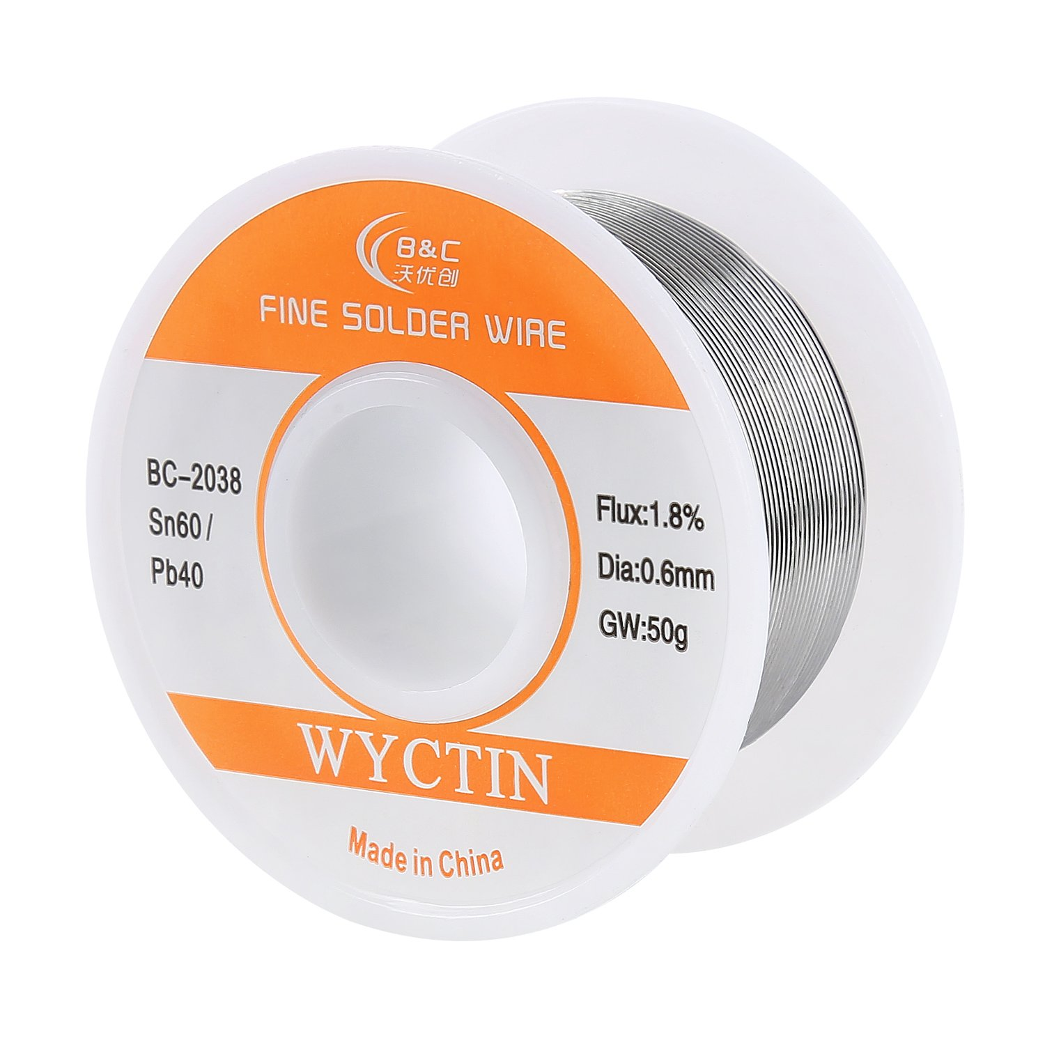 WYCTIN 60-40 Tin Lead Rosin Core Solder Wire for Electrical Soldering and DIY 0.0236