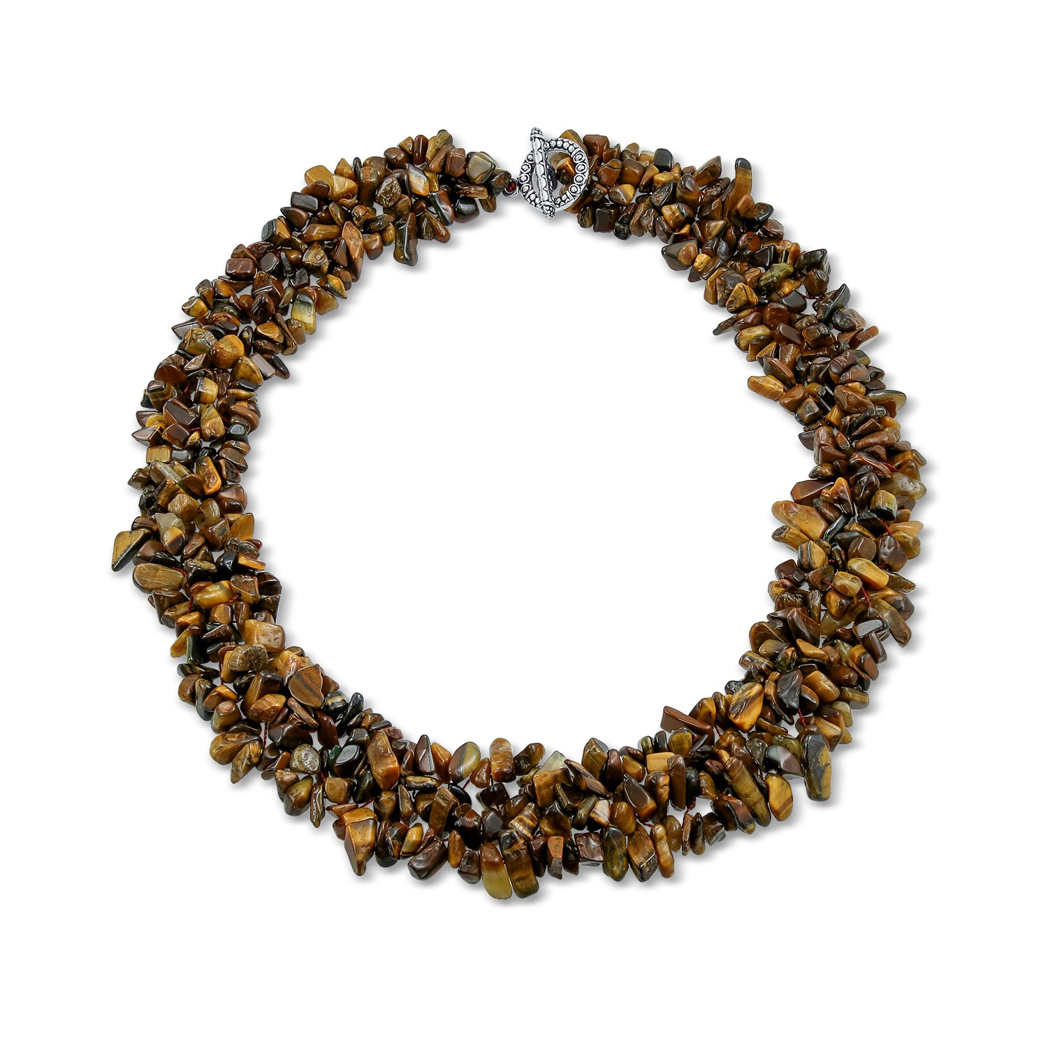 Multi Strands Simulated Tiger Eye Chips Chunky Silver Plated Necklace 18 Inches