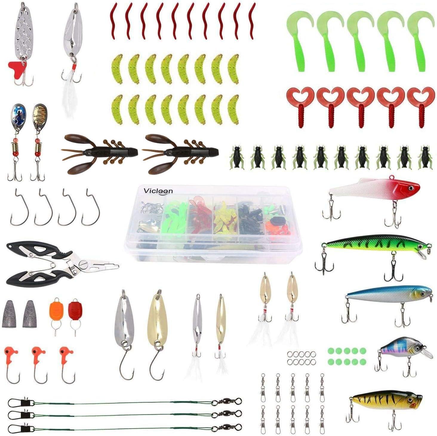 Vicloon 110 Piezas Señuelos Pesca, Cebo Pesca Contiene Black Bass, la Caja Tackle, Ganchos, Tijeras, Spinning Cebos Pesca etc Accesorios de Pesca: Amazon.es: Deportes y aire libre