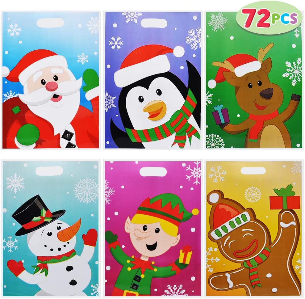72 PCs Christmas Bags for Xmas Holiday Goody Gift, Christmas Snacks Bags, Goodie Bags, Classroom Goody Bags, Event Party Favor Supplies