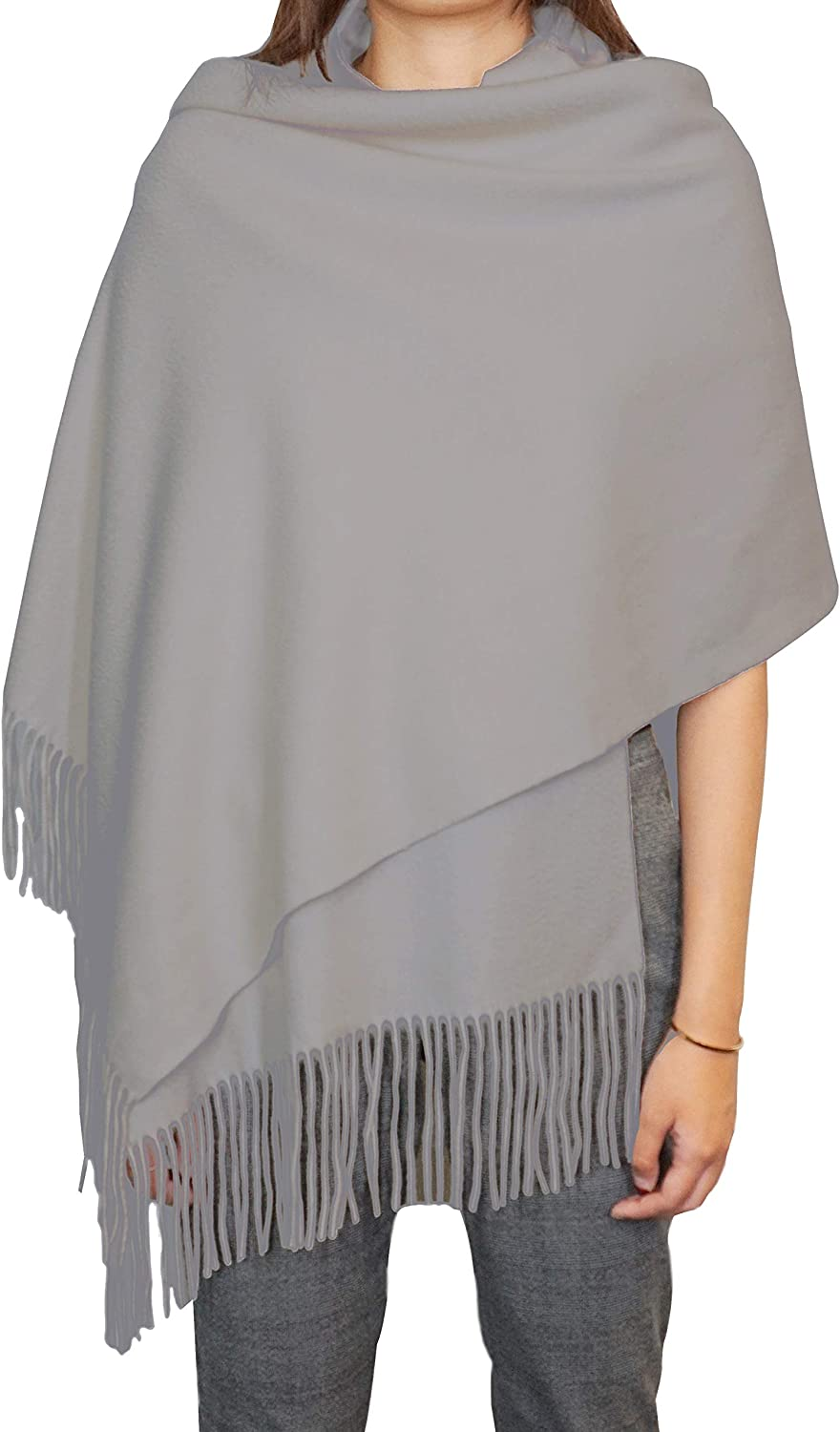 State Cheap mail order shopping Cashmere Solid Color 100% Oversized Max 49% OFF Fringe Shawl