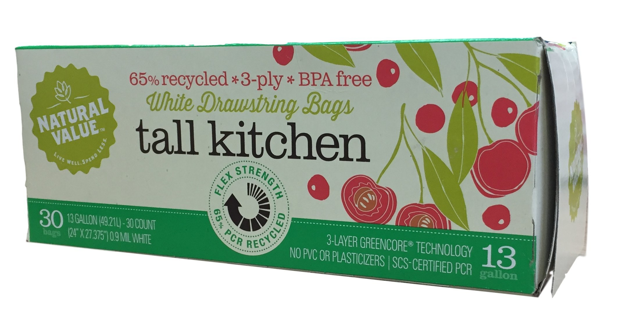 Natural Value Tall Kitchen Drawstring Bags, Embossed White, 30 Count