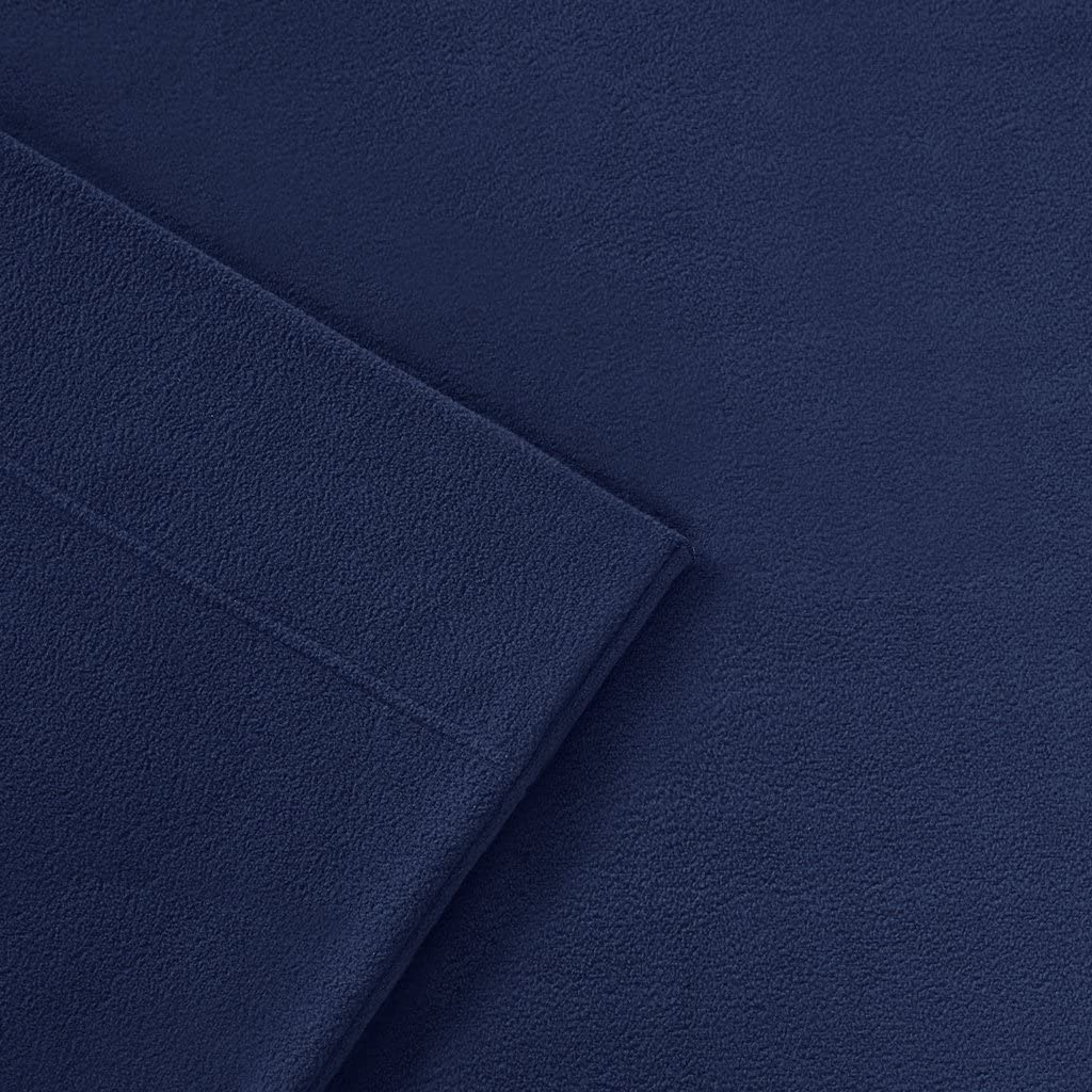 Peak Performance 3M Scotchgard Micro Fleece Wrinkle and Stain Resistant Navy Soft Plush Sheets with 14 Deep Pocket Cold Season Cozy Bedding-Set Matching Pillow Case King