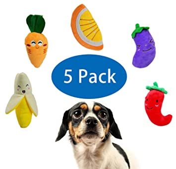 Squeaky Dog Toys Fruit Vegetable Designs Plush Puppy Dog Toy Package For Aggressive Chewers Boredom Suitable For Puppies And Small Dogs A Pack