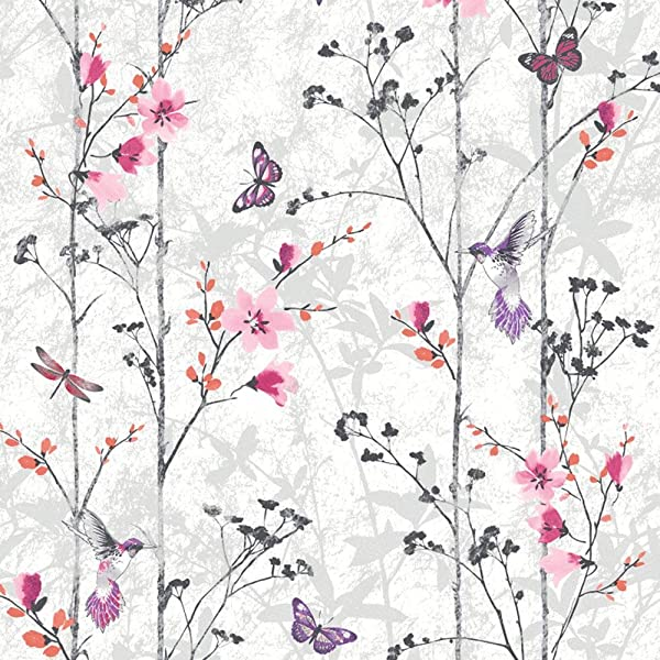 Fresco Great Value Mai Oriental Birds And Flowers Pale Lilac Wallpaper