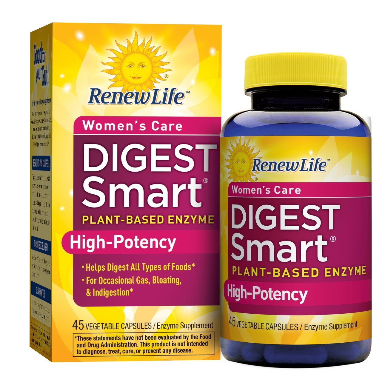 Renew Life - Digest Smart Women's Care - plant-based enzyme supplement - 45 vegetable capsules