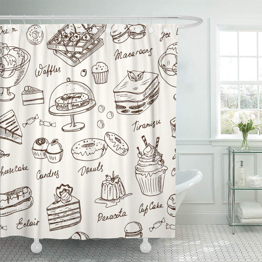 Emvency Shower Curtain Set Waterproof Adjustable Polyester Fabric Bakery Desserts Sweets for Menus Recipes Packages Product Tiramisu Apple Cafe 72 x 78 Inches Set with Hooks for Bathroom by Emvency