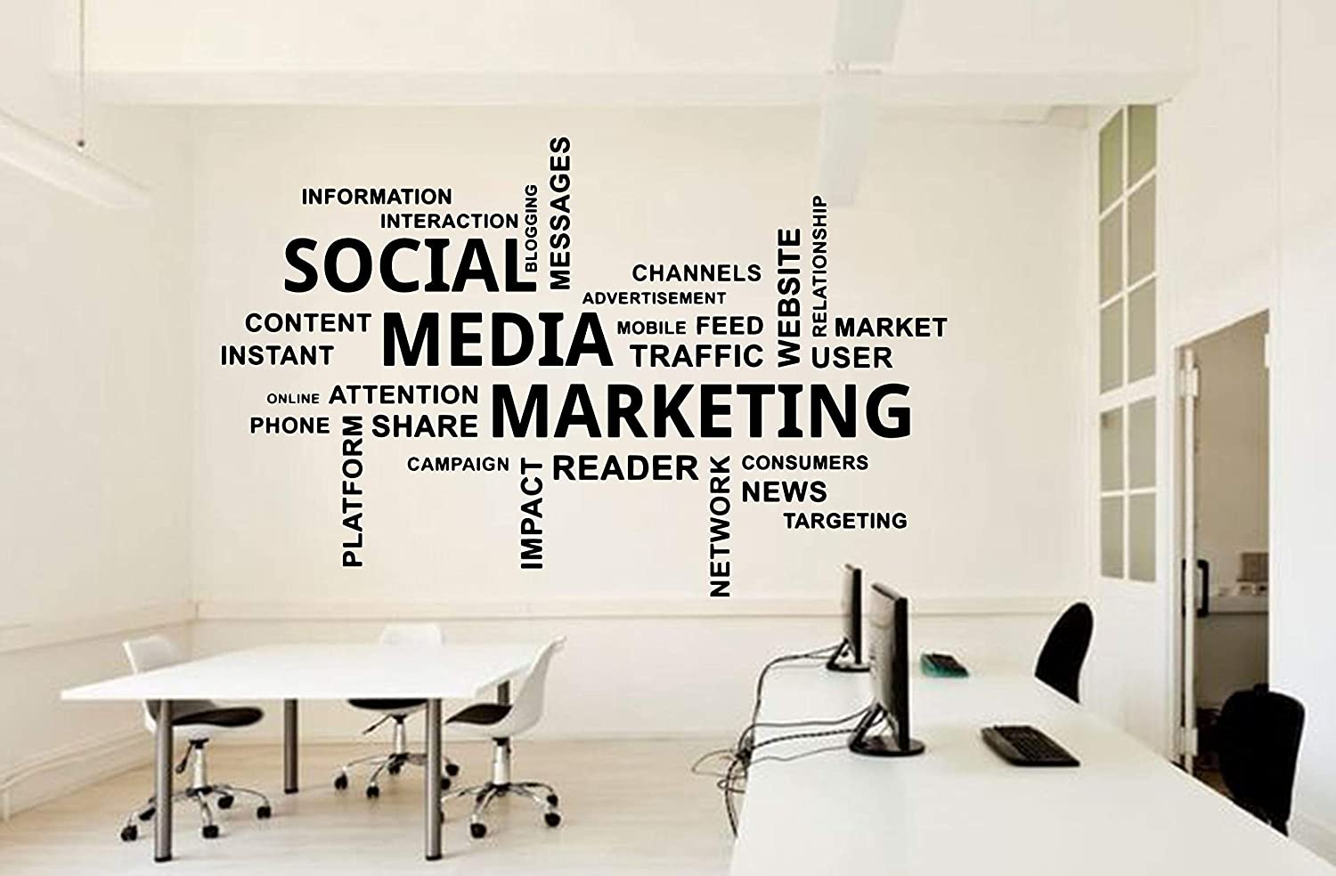 Wall Decal Sticker Office Social Media Marketing Wall Decal Idea Teamwork Business Worker Inspire Office Decoration Motivation Sticker Mural Unique Gift 60 Cm Amazon Co Uk Diy Tools