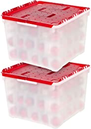 IRIS USA, Inc. WL-60 Holiday Ornament Storage Box, 2 Pack, 2 Pack, Pearl/Red, 2 Pack