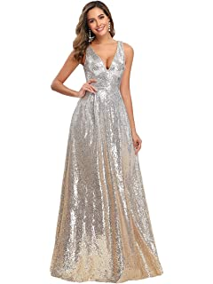 Ever Pretty Abito da Cerimonia Sirena Elegante Brillantini Paillettes Lungo Donna 00777