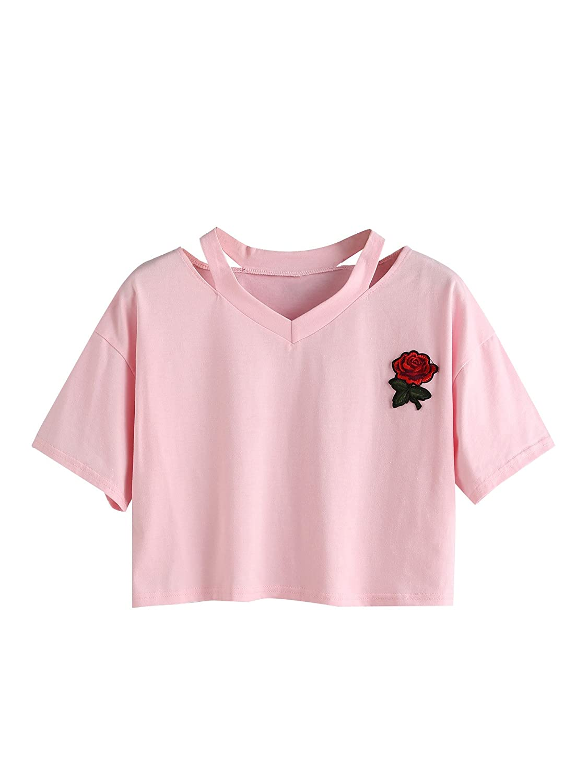 TALLA S. SOLYHUX Mujer Rosa Manga Corta Casual Camiseta Mezcla de algodón Cuello en V Chaleco Tops Blusa