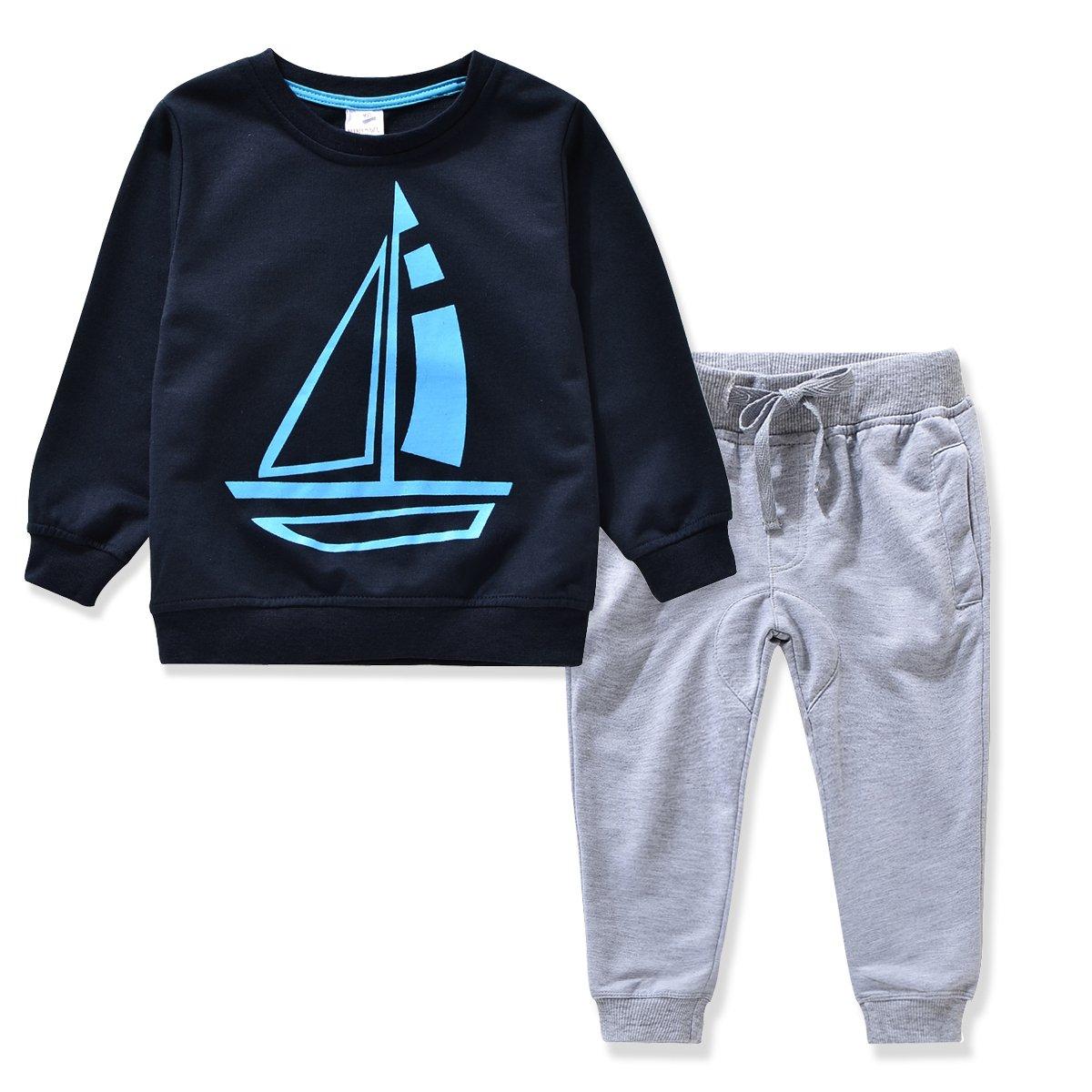 Miniowl Kids Boys Clothing Sets Ship Pattern Long Sleeve T-shirt Pants DB 2T