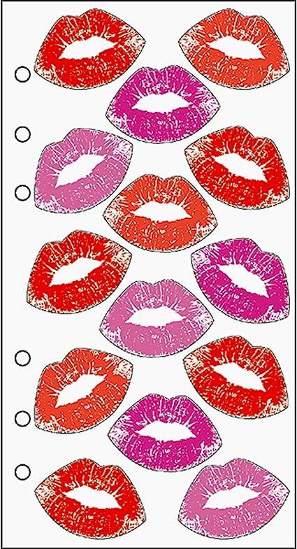 de pegatinas rosa rojo sunmns labios besos pegatinas adhesivas perforado total 1000/piezas por rollo