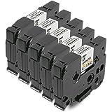 5x Tape Cassette TZe-231 TZ-231 Negro sobre Blanco 12mm x 8m Compatible Para Tze Tape Brother P-Touch PT-1000 P700 9500 2430 GL-H100 GL-H105 GL-200 PT-1080 PTE-550WVP PT-P700 PT-H300 PT-1005 PT-1010 PT-1090 PT-1200 PT-1250