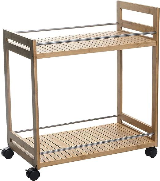 MD - Mesa camarera de bambú con ruedas, medidas 55x32x62,50cm ...