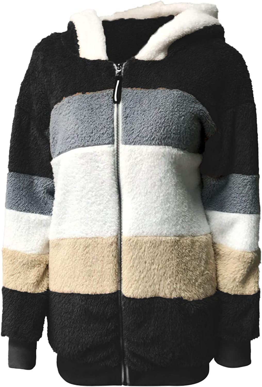 FHLZ Womens Contrasting Manmade Lamb Wool Coat Winter Loose Hooded Jacket Plush Coat with Zipper,Fashion Casual Warm Zip Jacket